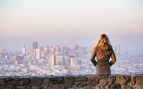 Picture girl, the city, view, Platform, Viewing City, Woman on Rock