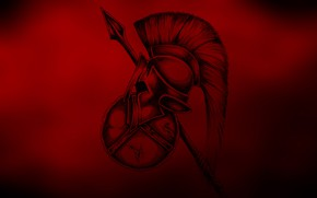 Picture background, spear, shield, the Spartan helmet