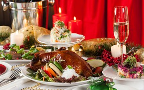 Picture glass, candles, vegetables, duck, feast, salad, cuts