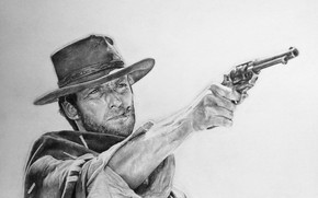 Picture figure, revolver, Western, Clint Eastwood, Clint Eastwood