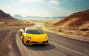 Wallpaper Lamborghini, Speed, Yellow, Supercar, Aventador S