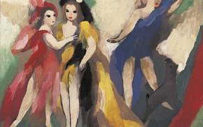 Picture red dress, blue dress, Modern, Three girls, Marie Laurencin, yellow-black dress