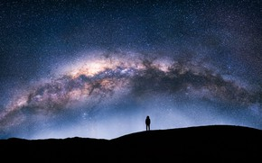 Wallpaper stars, the sky, the milky way, silhouette, night, people