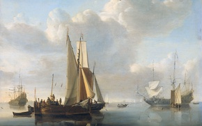 Wallpaper Boats at the Shore, sail, Willem van de Velde the Younger, oil, tree, picture, sea