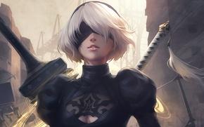 Picture girl, sword, white, game, black, android, art, beautiful, katana, square enix, factory, nier, town, Destruction, …