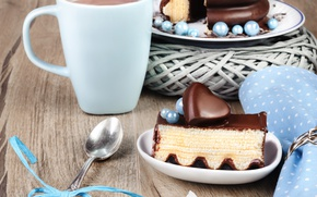 Picture heart, coffee, chocolate, spoon, cake, cake, dessert, cup, sweet, chocolate
