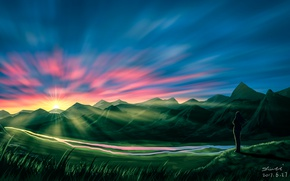 Picture the sky, water, girl, the sun, sunset, nature, liwei191, green hills