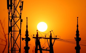 Picture sunset, wire, The sun, silhouette, tower, support, mast