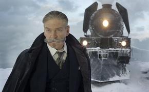Picture cinema, blizzard, snow, man, movie, train, film, suit, mustache, tie, Kenneth Branagh, Murder on the ...