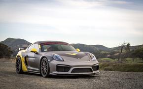 Picture car, Porsche, Porsche Cayman, montain, Porsche Cayman GT4, Porsche Cayman GT4 Vorsteiner