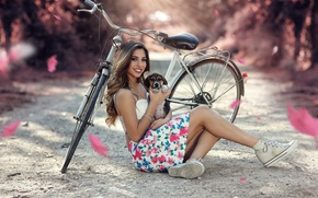 Picture girl, bike, smile, legs, dog, Smile