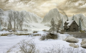 Wallpaper winter, mountains, house, trees