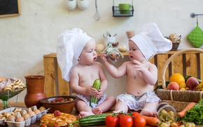 Picture children, table, basket, strawberry, kitchen, small, cook, vegetables, boys, child, vegetables, kitchen, infant