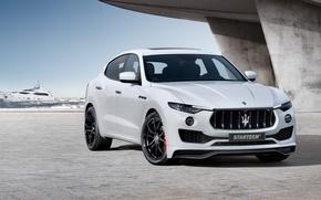 Picture sea, white, Maserati, wave, grille, front, pierce, concrete, drives, radiator, view, Design, Maserati, the front, …
