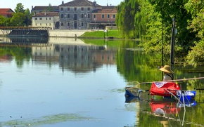 Picture the city, river, fisherman, Italy, Province of Treviso