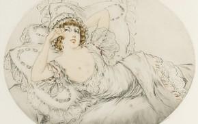 Picture 1914, The temptation, etching, dry needle, Louis Icart, art Deco