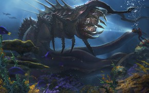 Picture fish, the diver, monster, Deep Sea Creature, Alejandro Olmedo