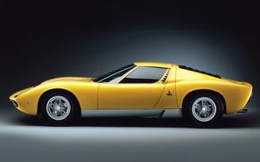 Picture Color, Yellow, Lamborghini, Machine, 1971, Car, Supercar, Side view, Lamborghini Miura, P400, SVJ, Lamborghini Miura …
