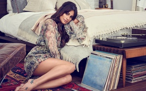 Picture pose, bed, pillow, makeup, dress, actress, brunette, hairstyle, player, vinyl, singer, sitting, on the floor, …
