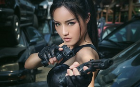 Picture look, girl, background, guns, Asian