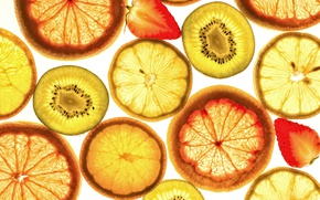 Wallpaper strawberry, fruit, orange, kiwi, lemon, macro, slices