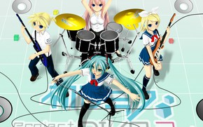 Picture music, anime, art, drums, Vocaloid, Vocaloid, characters