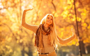 Picture autumn, girl, the sun, trees, joy, pose, smile, Park, jeans, makeup, scarf, hairstyle, blonde, sweater, …