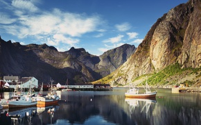 Picture clouds, rocks, the sky, Norway, Pure, boats, boats, Bay, home, piers, mountains, Lofoten, The Lofoten …