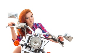 Picture look, girl, makeup, hairstyle, motorcycle, white background, shirt, bike, cute, redhead