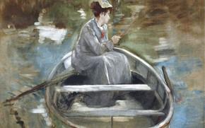 Picture girl, picture, Eva Gonzales, In The Boat, Eva Gonzalez