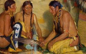 Picture Joseph Henry Sharp, Grass Medicine, Making Sweet, Blackfoot Ceremony