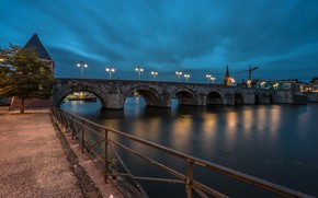 Picture night, bridge, lights, Netherlands, Holland, Maastricht