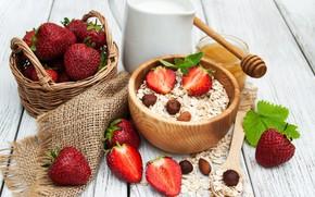 Picture berries, Breakfast, milk, strawberry, honey, nuts, honey, almonds, cereal, hazelnuts, nuts, strawberry, berries, breakfast, milk, …