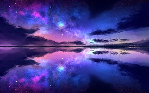 Wallpaper clouds, stars, reflection, the sky, night