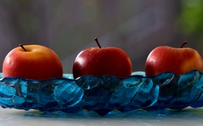 Picture glass, background, apples, food, red, three, fruit, trio, dish, composition, juicy, liquid, delicious