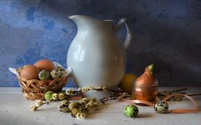 Picture table, lemon, basket, eggs, bow, dishes, pitcher, Verba, Still life, jar, the milkman, palm Sunday