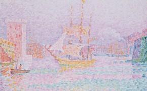 Picture ship, picture, sail, Paul Signac, pointillism, Paul Signac, The Harbor in Marseille