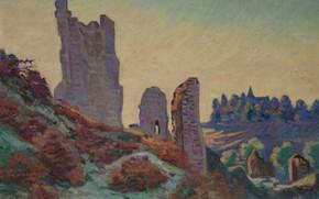 Picture landscape, picture, Arman Hyomin, Armand Guillaumin, Castle ruins in Crozant