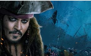 Wallpaper cinema, film, kaizoku, captain, Dead Men Tell No Tales, sea, hat, Pirates of The Caribbean: ...