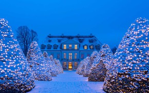 Wallpaper snow, winter, Germany, lights, Saxony, decoration, Christmas, The Bottom Of The Stairs., Castle Wackerbarth, Radebeul