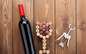 Picture creative, background, tree, wine, Board, glass, bottle, tube, corkscrew
