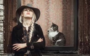 Picture cat, girl, hat, window, braid