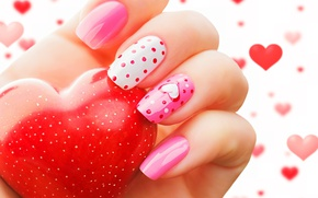 Wallpaper love, heart, romantic, manicure, valentine`s day