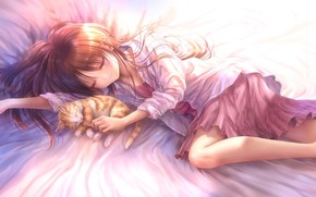 Picture cat, cat, anime, art, sleeping, girl