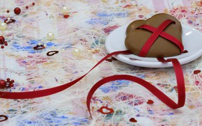 Picture love, background, heart, heart, candy, hearts, beads, Valentine, heart, Valentine's day, two, saucer, ribbon, holidays, …