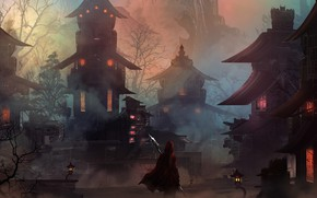 Wallpaper hero, city, night, spear, fantasy city, fantasy, warrior, Houses, cape, artwork, hood, digital art, fantasy ...