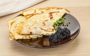 Picture plate, pancakes, caviar, cakes, caviar, pancake, seafoods