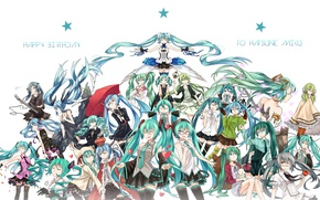 Picture stockings, umbrella, crown, glasses, tie, vocaloid, Hatsune Miku, Vocaloid, a lot, blue hair, art, Hatsune …
