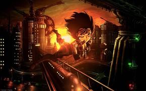 Picture girl, sunset, the city, cyborg, flies, Battle Angel Alita