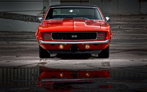 Picture 1969, Chevy, Chevrolet Camaro SS, red car, muscle classic